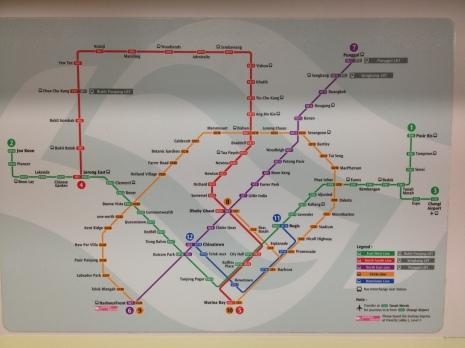 Schemat metra w Singapurze, stan na Październik 2014