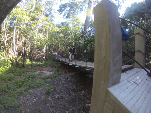 small swing bridge on the way - really necessary in the rainy season